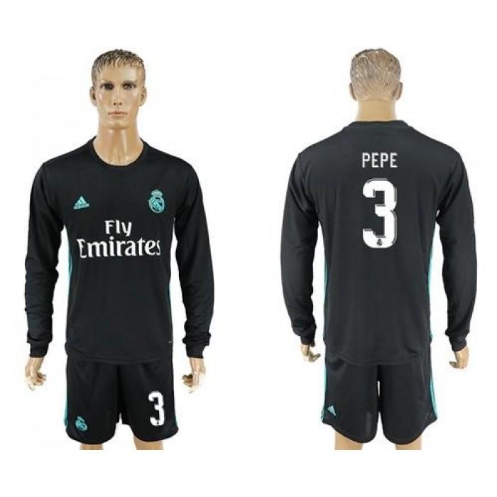 Real Madrid #3 Pepe Away Long Sleeves Soccer Club Jersey