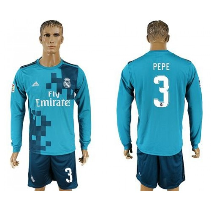 Real Madrid #3 Pepe Sec Away Long Sleeves Soccer Club Jersey