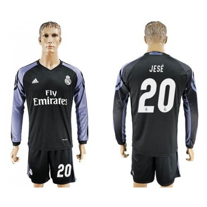 Real Madrid #3 Vallejo Sec Away Long Sleeves Soccer Club Jersey