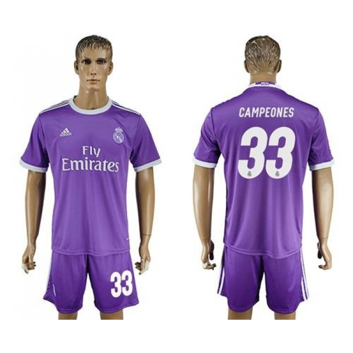 Real Madrid #33 Campeones Away Soccer Club Jersey