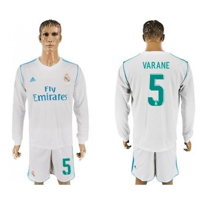 Real Madrid #5 Varane White Home Long Sleeves Soccer Club Jersey