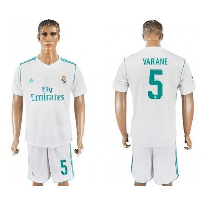 Real Madrid #5 Varane White Home Soccer Club Jersey