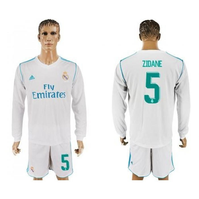 Real Madrid #5 Zidane White Home Long Sleeve Soccer Club Jersey