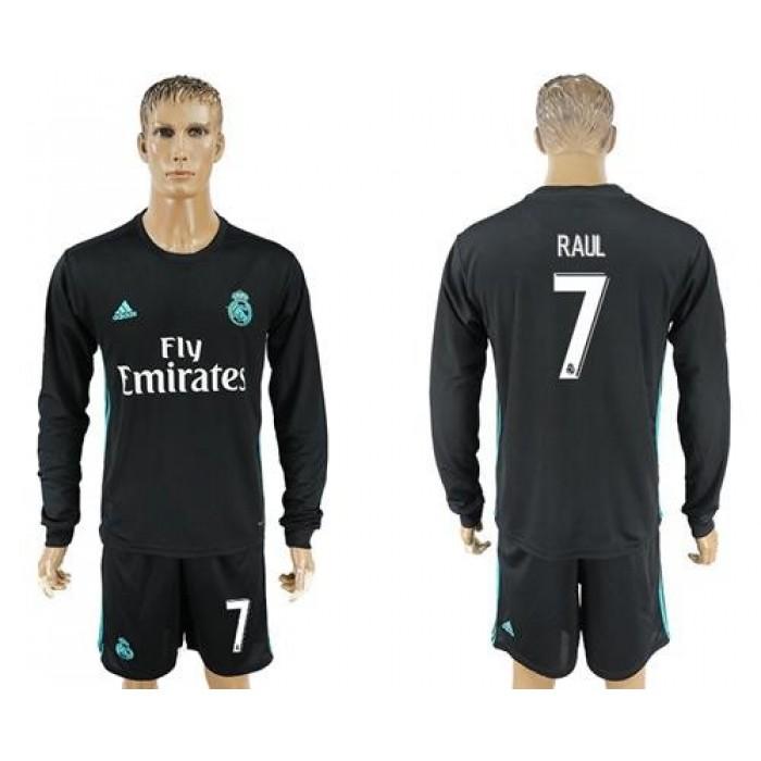 Real Madrid #7 Raul Away Long Sleeves Soccer Club Jersey