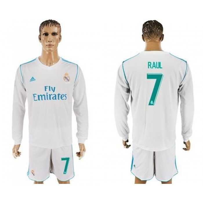 Real Madrid #7 Raul White Home Long Sleeves Soccer Club Jersey