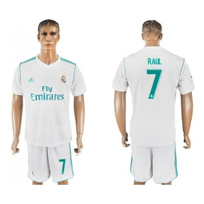 Real Madrid #7 Raul White Home Soccer Club Jersey