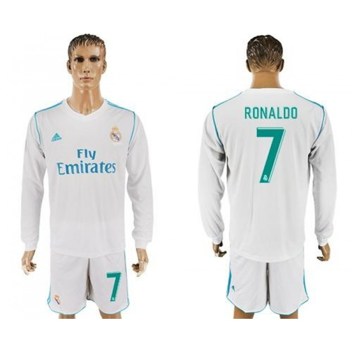 Real Madrid #7 Ronaldo White Home Long Sleeves Soccer Club Jersey