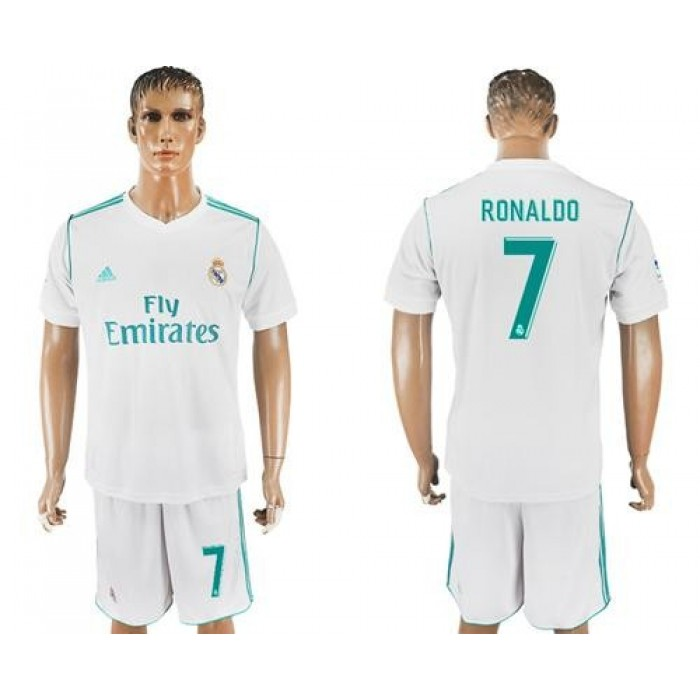 Real Madrid #7 Ronaldo White Home Soccer Club Jersey