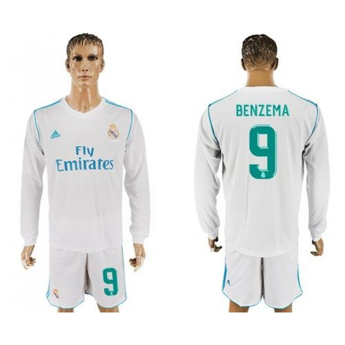 Real Madrid #9 Benzema White Home Long Sleeves Soccer Club Jersey
