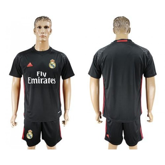Real Madrid Blank Black Goalkeeper Soccer Club Jersey
