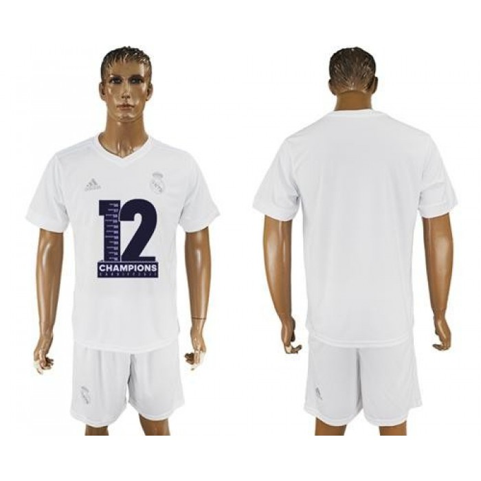 Real Madrid Blank Champions White Soccer Club Jersey