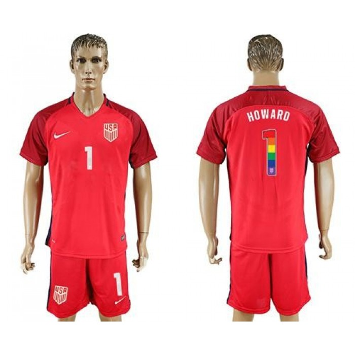 USA #1 Howard Red Rainbow Soccer Country Jersey