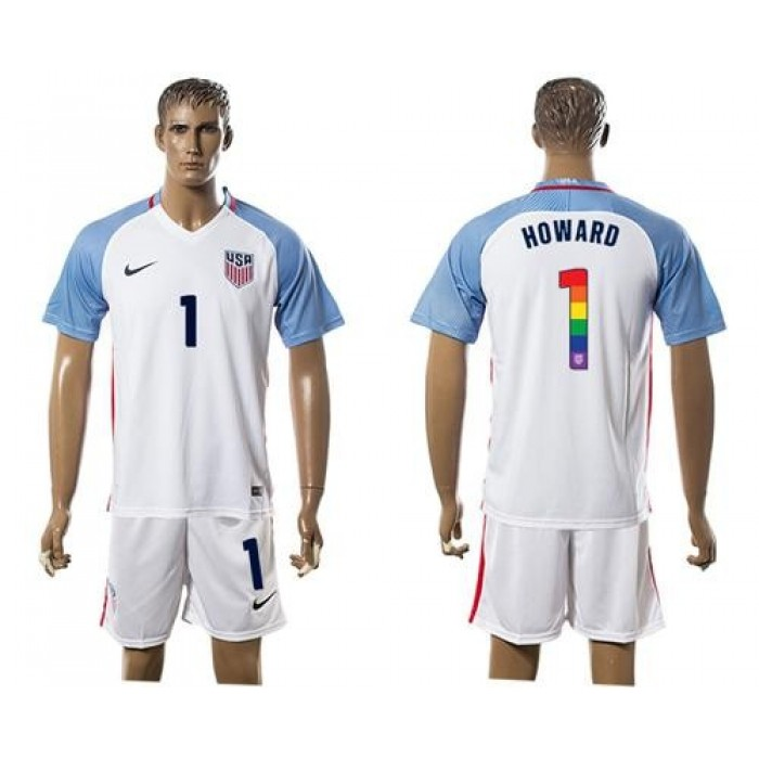 USA #1 Howard White Rainbow Soccer Country Jersey