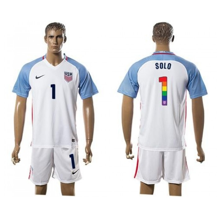 USA #1 Solo White Rainbow Soccer Country Jersey
