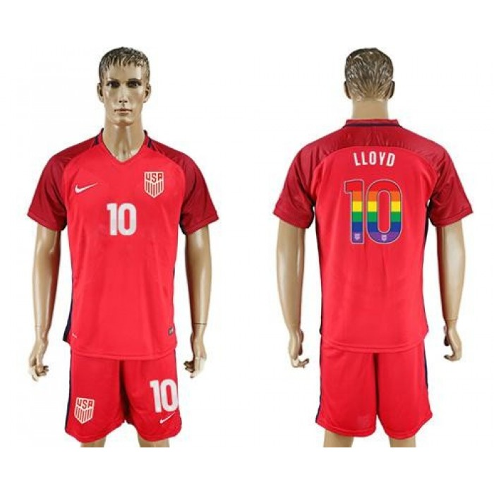 USA #10 Lloyd Red Rainbow Soccer Country Jersey