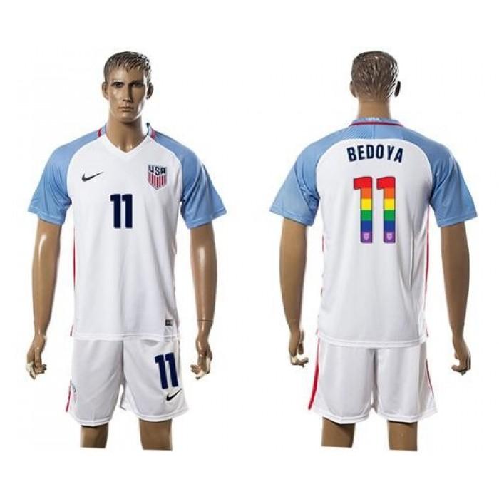 USA #11 Bedoya White Rainbow Soccer Country Jersey