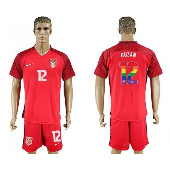 USA #12 Guzan Red Rainbow Soccer Country Jersey