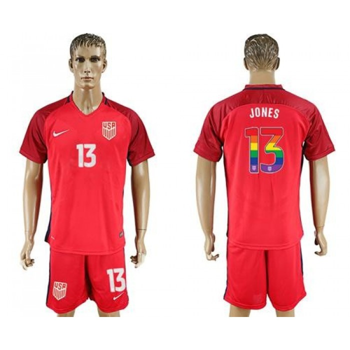 USA #13 Jones Red Rainbow Soccer Country Jersey