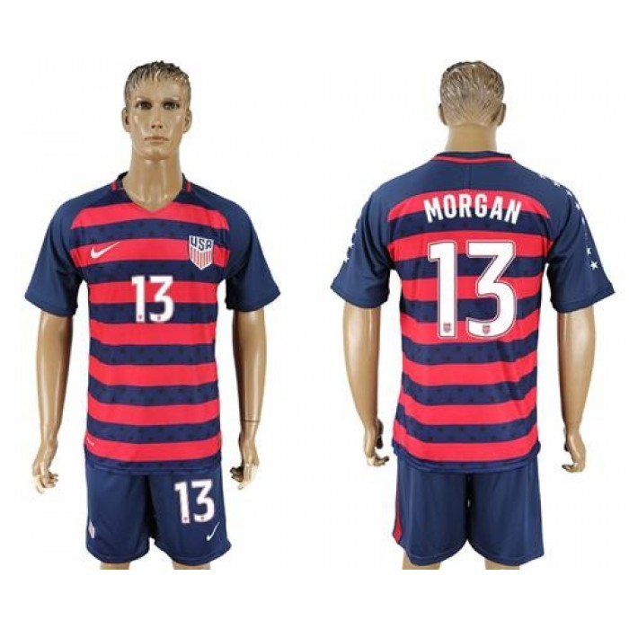 USA #13 Morgan Away Soccer Country Jersey
