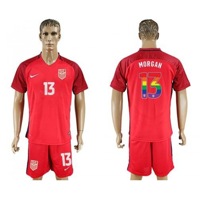 USA #13 Morgan Red Rainbow Soccer Country Jersey
