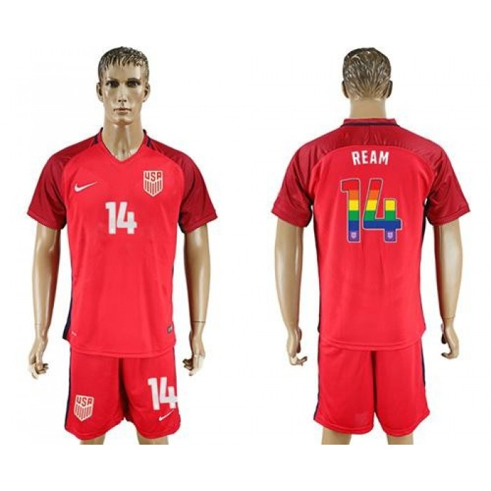 USA #14 Ream Red Rainbow Soccer Country Jersey