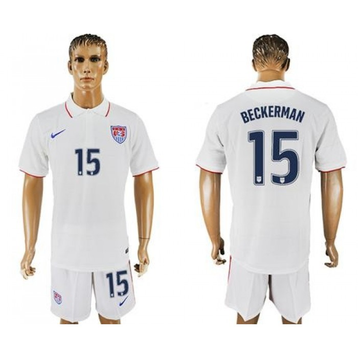 USA #15 Beckerman Home Soccer Country Jersey