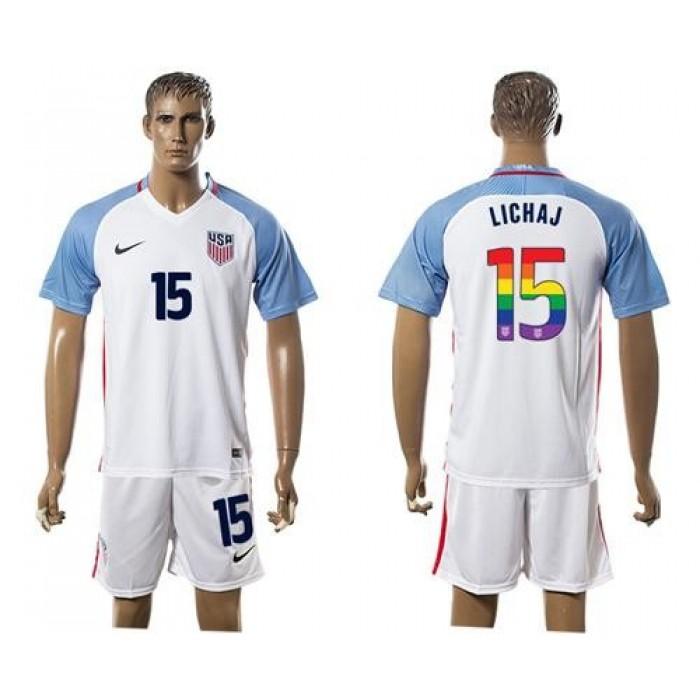USA #15 Lichaj White Rainbow Soccer Country Jersey