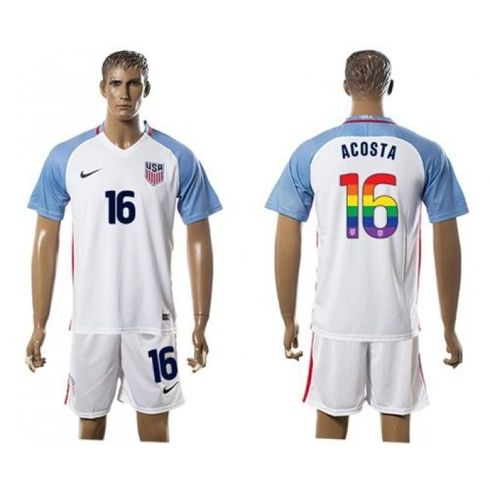 USA #16 Acosta White Rainbow Soccer Country Jersey