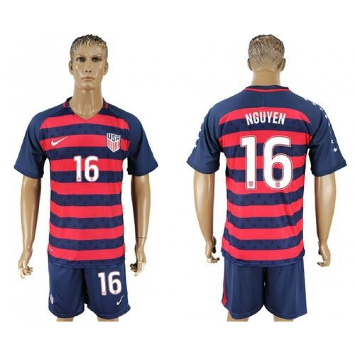 USA #16 Nguyen Away Soccer Country Jersey