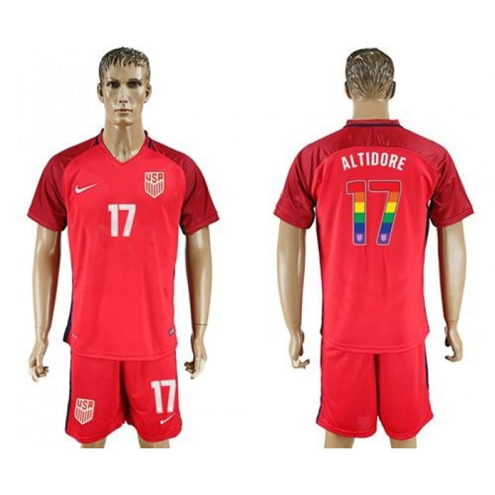 USA #17 Altidore Red Rainbow Soccer Country Jersey