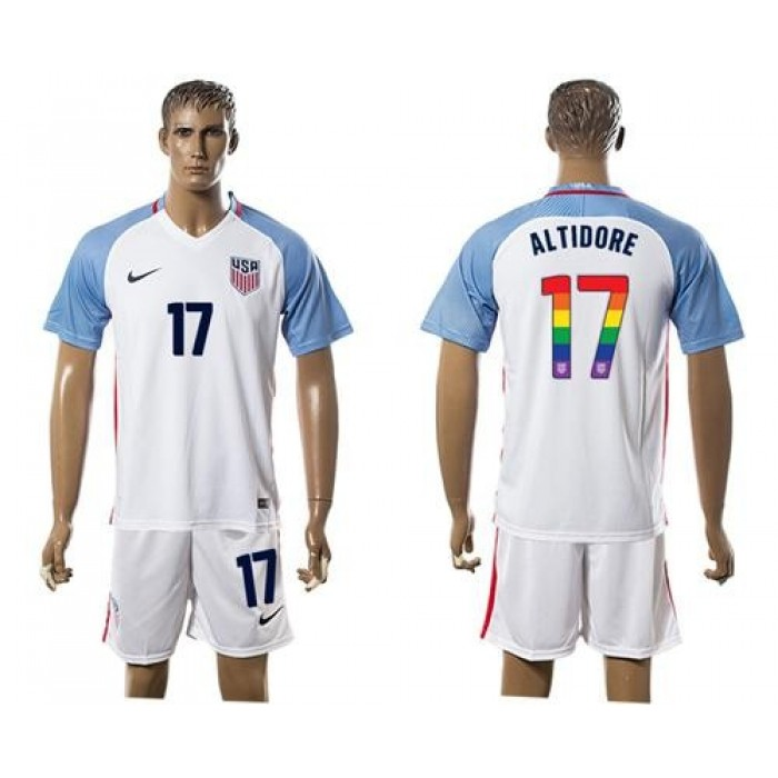 USA #17 Altidore White Rainbow Soccer Country Jersey