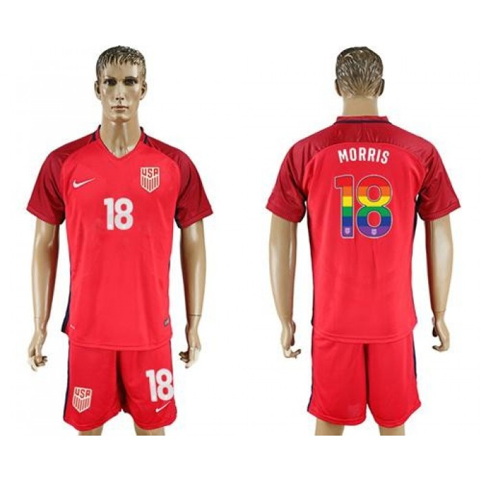USA #18 Morris Red Rainbow Soccer Country Jersey