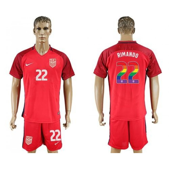 USA #22 Rimando Red Rainbow Soccer Country Jersey