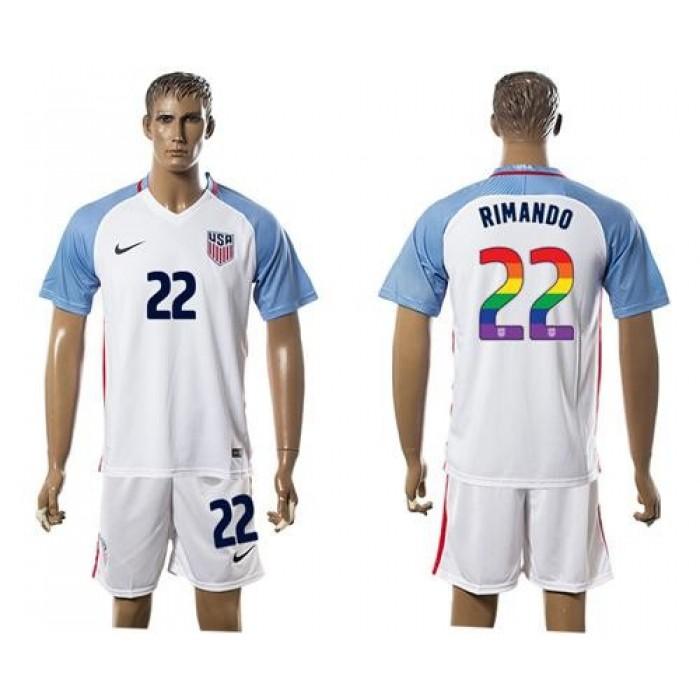USA #22 Rimando White Rainbow Soccer Country Jersey