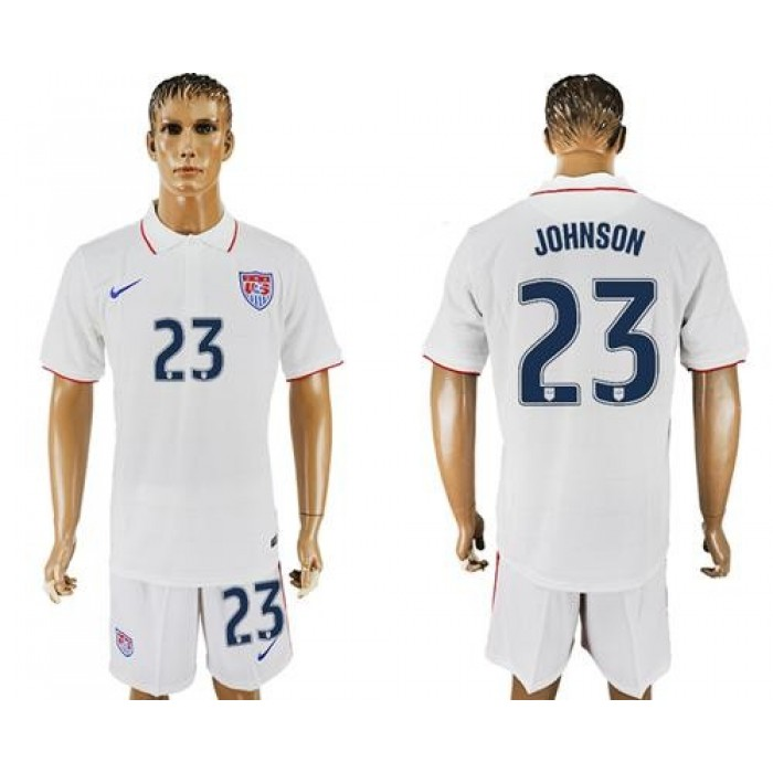 USA #23 Johnson Home Soccer Country Jersey