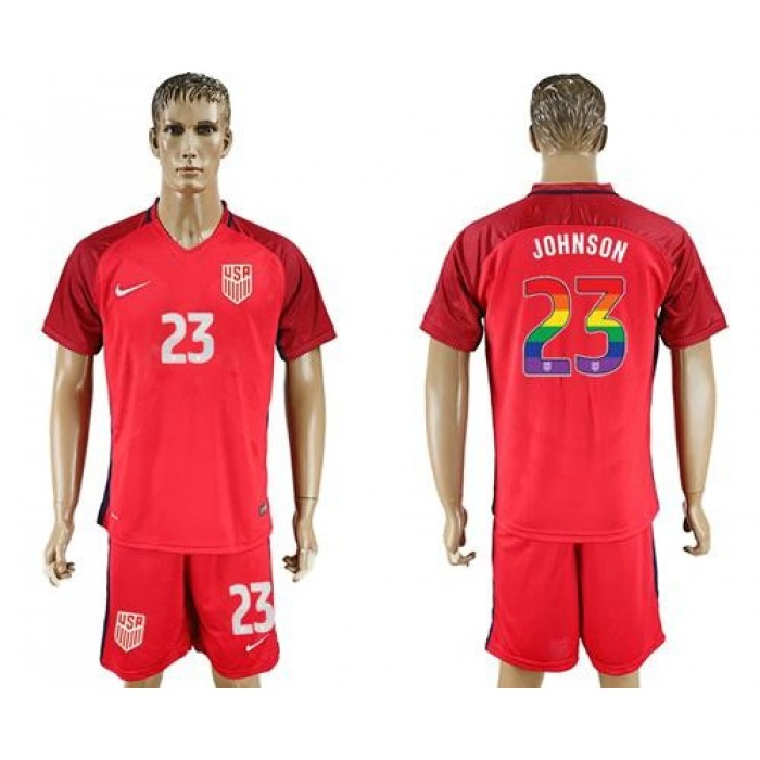 USA #23 Johnson Red Rainbow Soccer Country Jersey