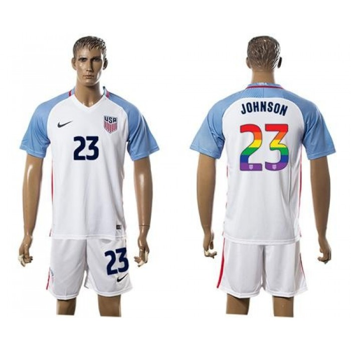 USA #23 Johnson White Rainbow Soccer Country Jersey