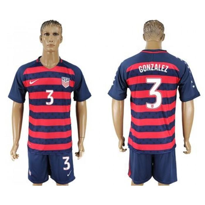 USA #3 Gonzalez Away Soccer Country Jersey