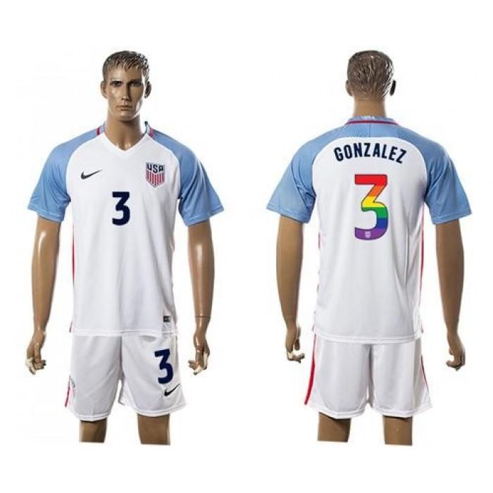 USA #3 Gonzalez White Rainbow Soccer Country Jersey