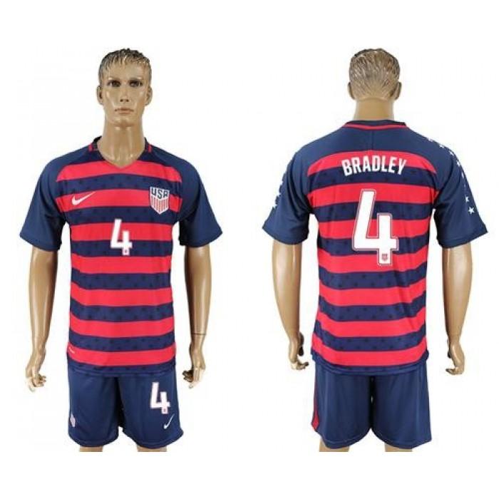 USA #4 Bradley Away Soccer Country Jersey