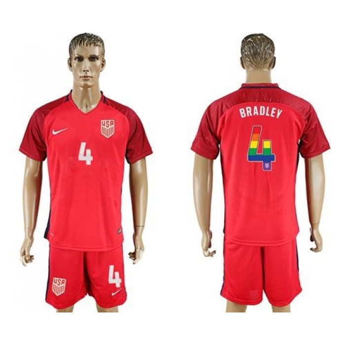 USA #4 Bradley Red Rainbow Soccer Country Jersey