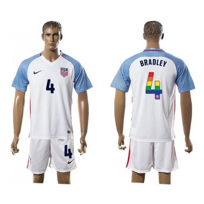 USA #4 Bradley White Rainbow Soccer Country Jersey
