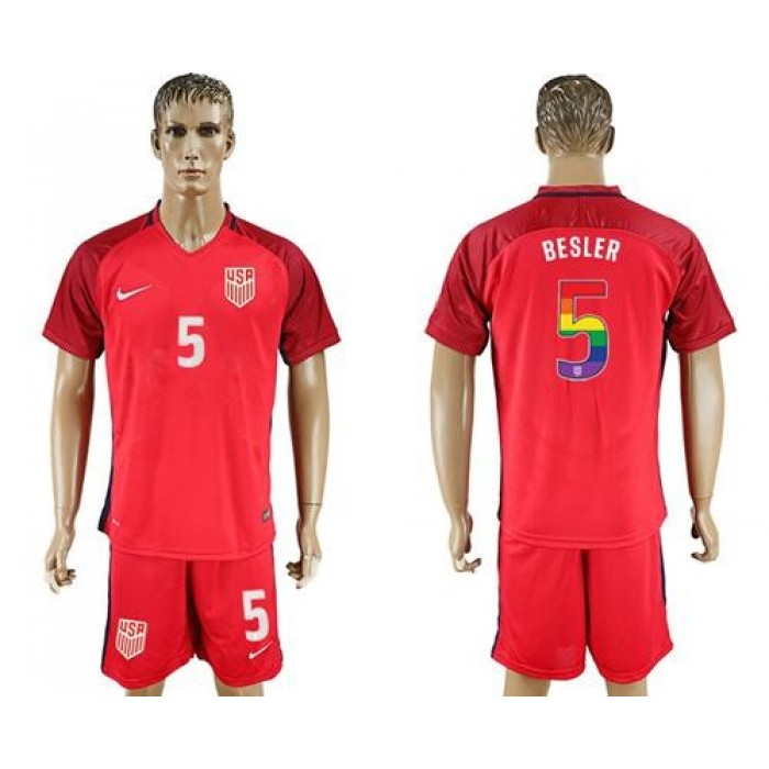 USA #5 Besler Red Rainbow Soccer Country Jersey