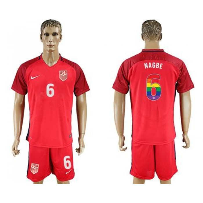 USA #6 Nagbe Red Rainbow Soccer Country Jersey