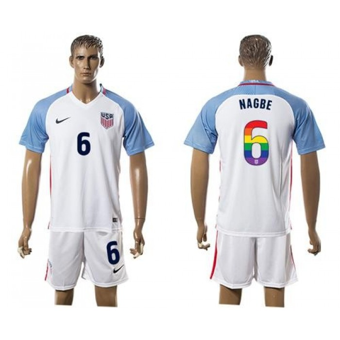 USA #6 Nagbe White Rainbow Soccer Country Jersey