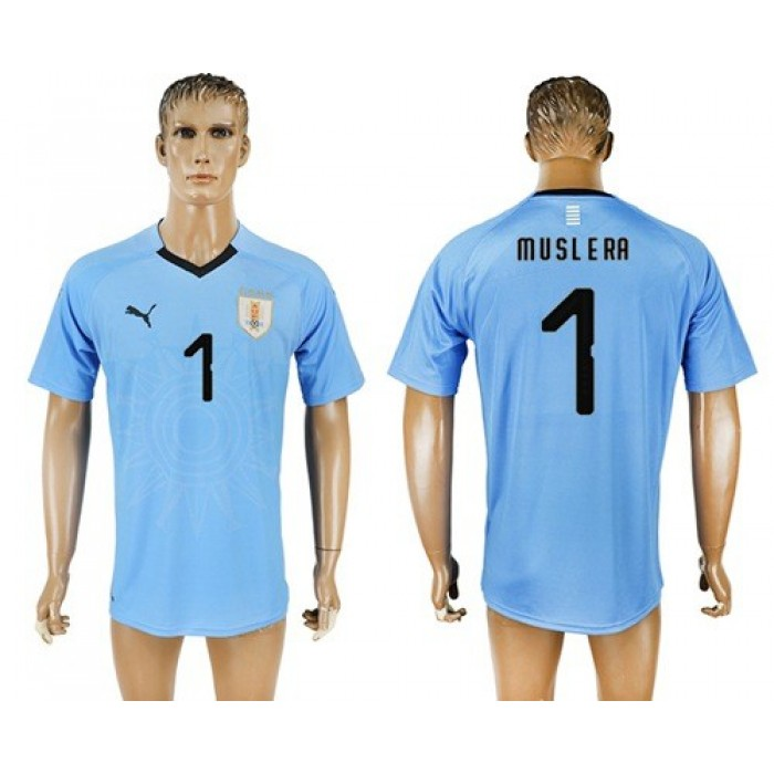 Uruguay #1 Muslera Home Soccer Country Jersey