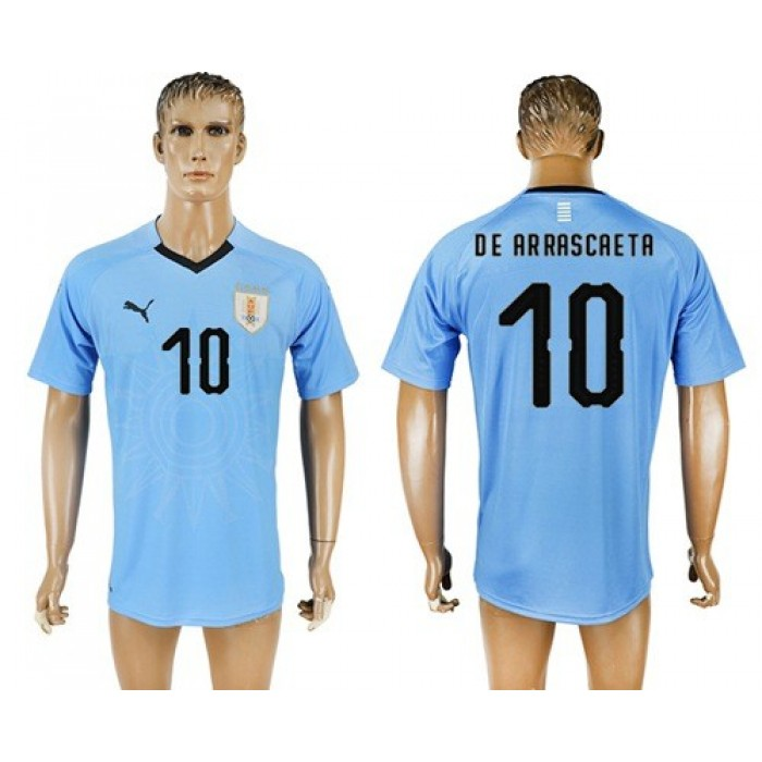 Uruguay #10 De Arrascaeta Home Soccer Country Jersey