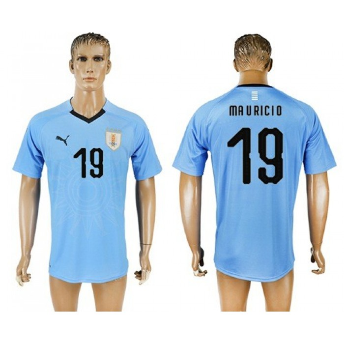 Uruguay #19 Ma V Ricio Home Soccer Country Jersey