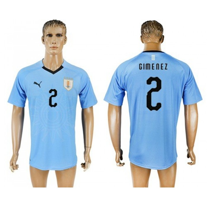 Uruguay #2 Gimenez Home Soccer Country Jersey
