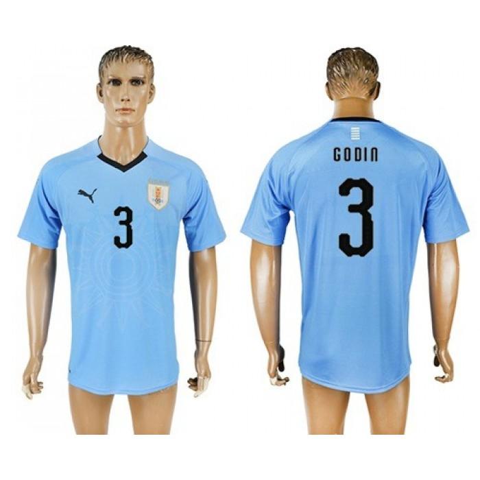 Uruguay #3 Godin Home Soccer Country Jersey